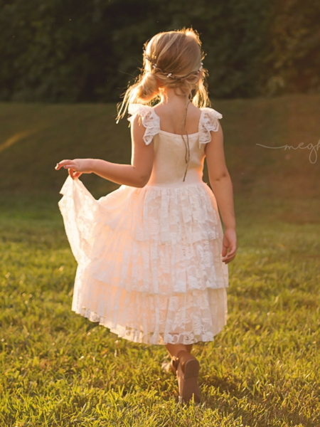 29c2169cccc6 Rustic Rose Lace Tier Flower Girl Dress