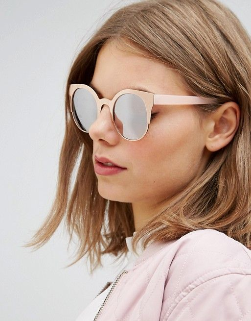 c81493763b ASOS Half Kitten Metal Sunglasses With Rose Gold Flash Lens Chunky frames  Adjustable silicone nose pads