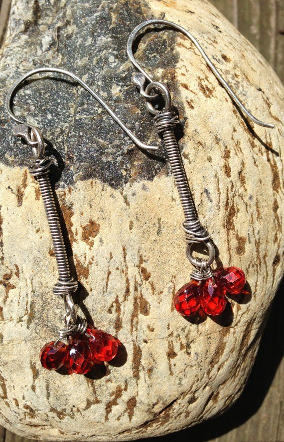Salsa Red Crystals in Wire Wrapped Sterling Earrings on Etsy, $54.00