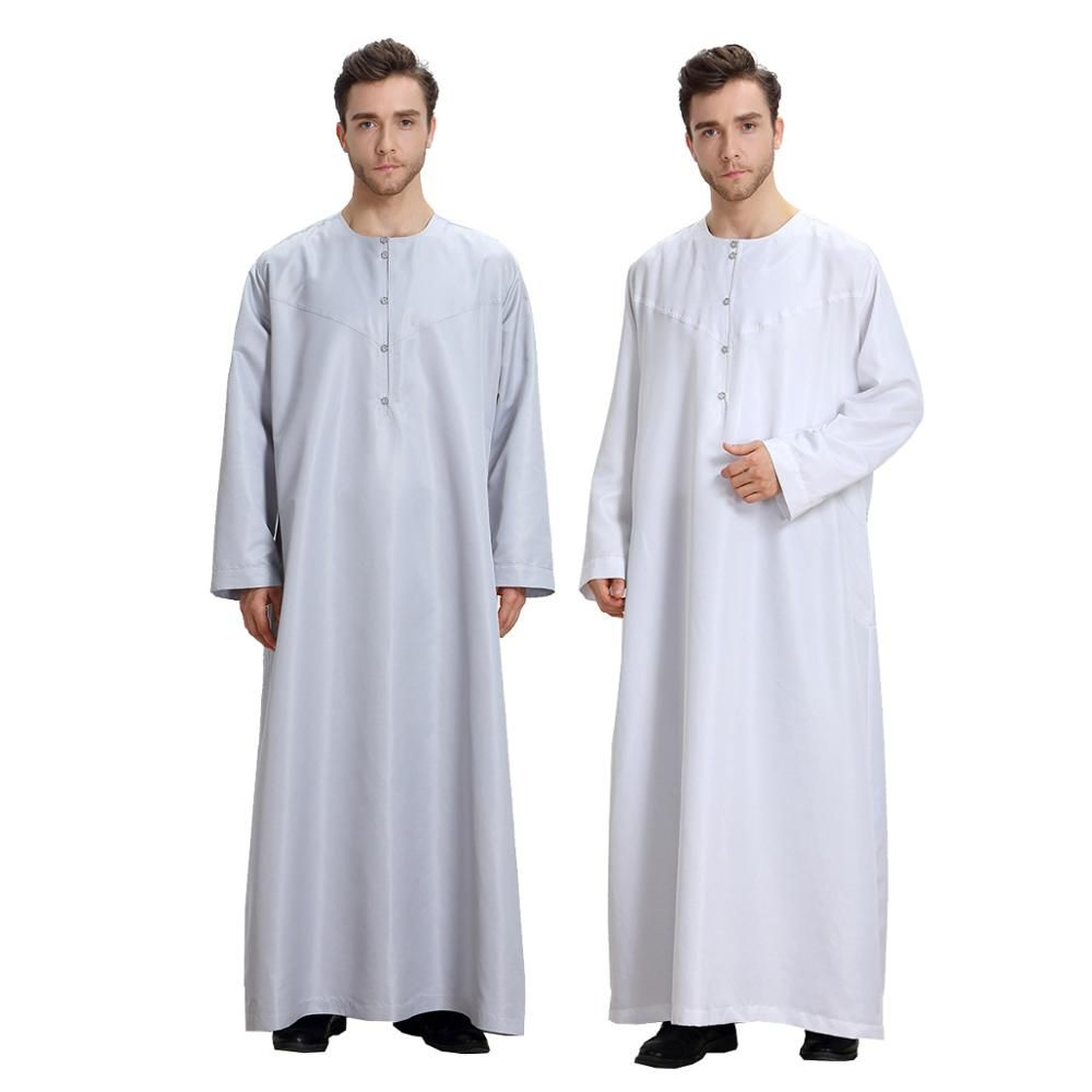 7aa7771dc1a39 Elegant White Saudi Style Muslin Men Abaya | Muslim Men Clothing ...