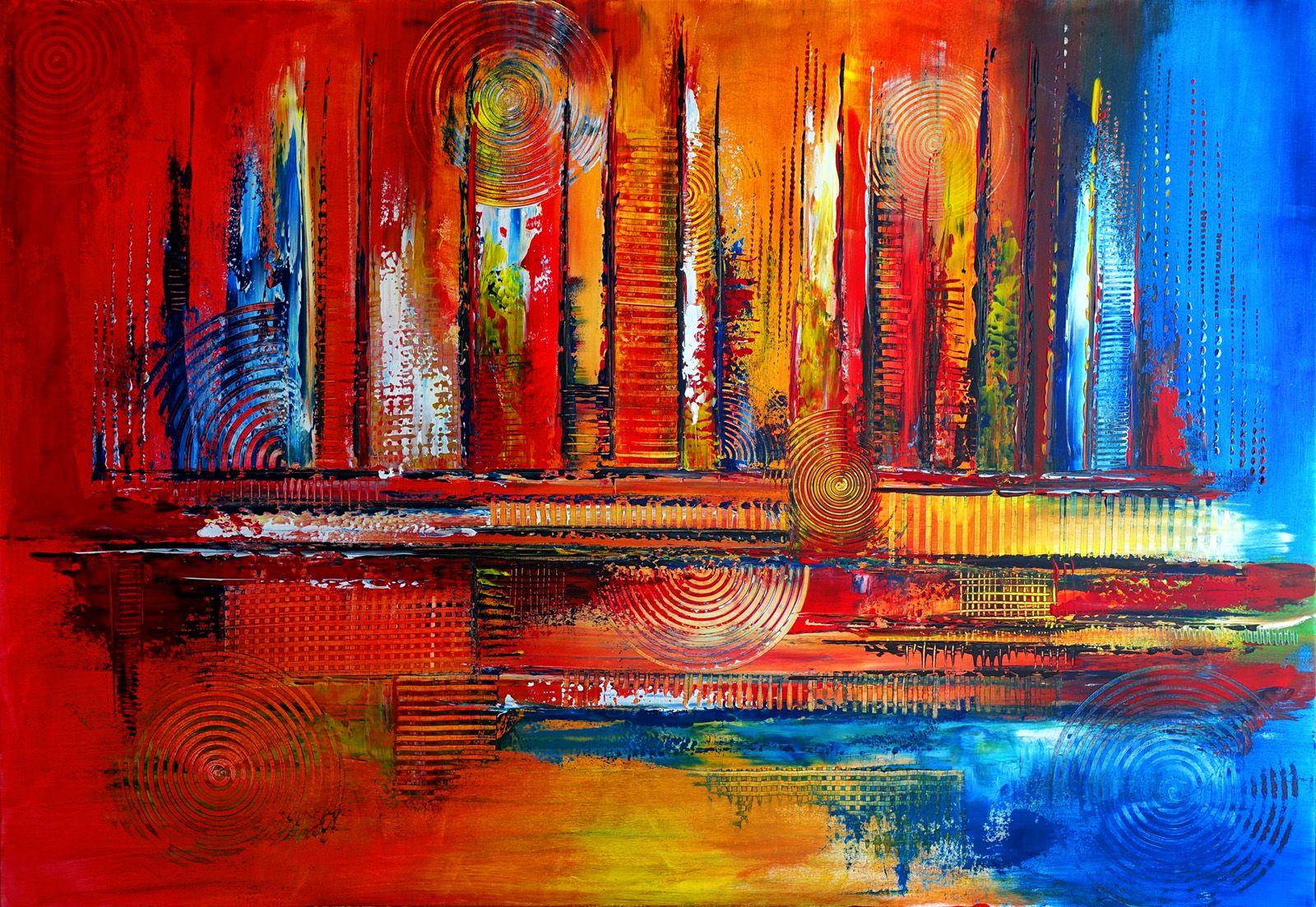 251 verkaufte abstrakte malerei rot blau querformat wandbilder original gemalde kunst kunstwerke unikat abstrakt abstraktes bild 599 geometrische formen