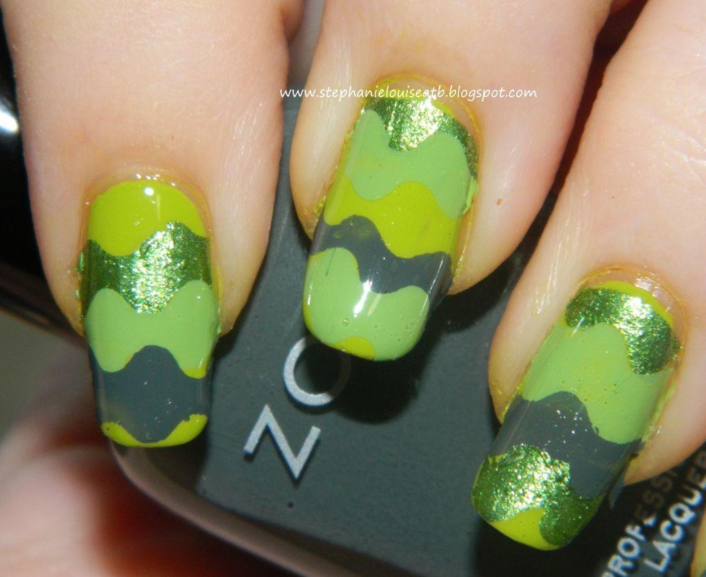 Pretty green waves nail art using Zoya, Sally Hansen, & Spoiled ...