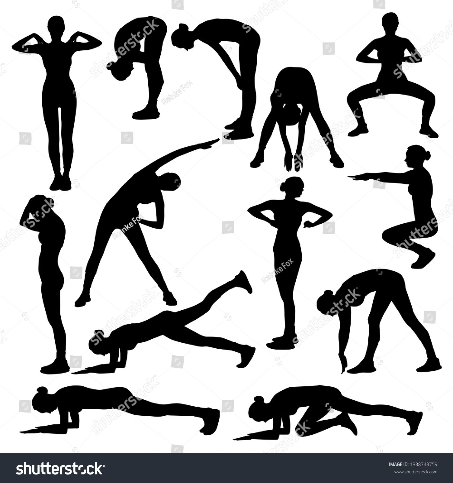 Collection Of Vector Silhouettes Of Slim Girls Doing Sport