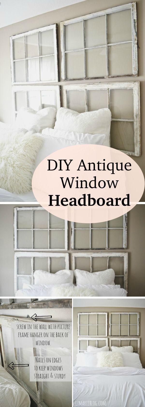 Old window over bed   brilliant ways to repurpose old windows  window headboard