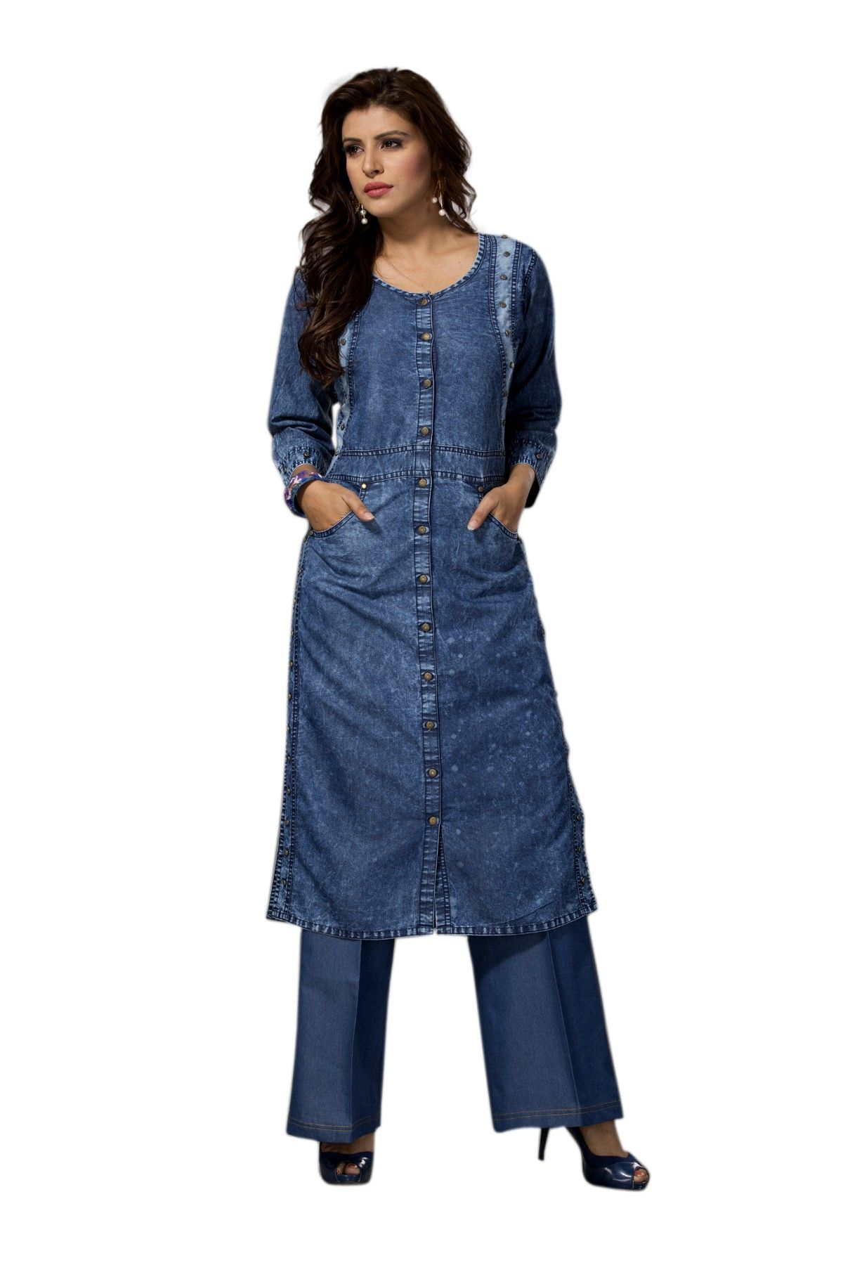 13307e248ce designer blue color denim kurtis