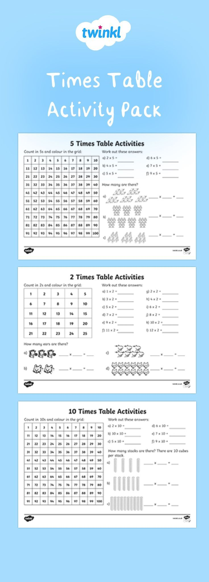 Perfect For Ks1 Maths This Fantastic Pack Contains A Selection Of 2 5 And 10 Times Table Activities You Can Use In In 2020 Ks1 Maths Ks1 Maths Worksheets Times Tables
