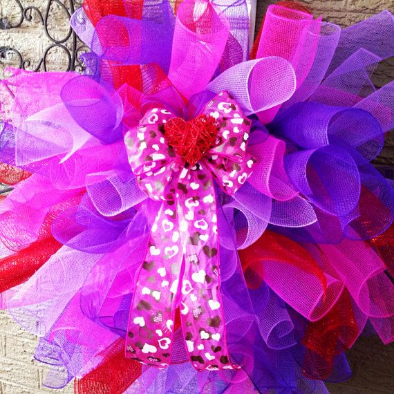 Valentine's Wreath Mesh Wreath  by WreathDesignsByJess on Etsy, $50.00