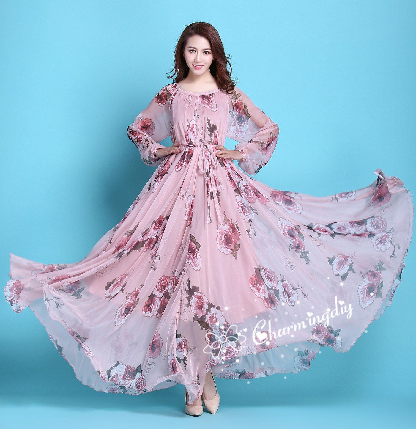 pink floral dress with sleeves
