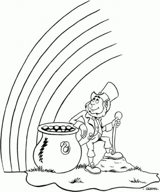 Saint Patrick\'s Day Coloring Pages - leprechaun watching rainbow ...