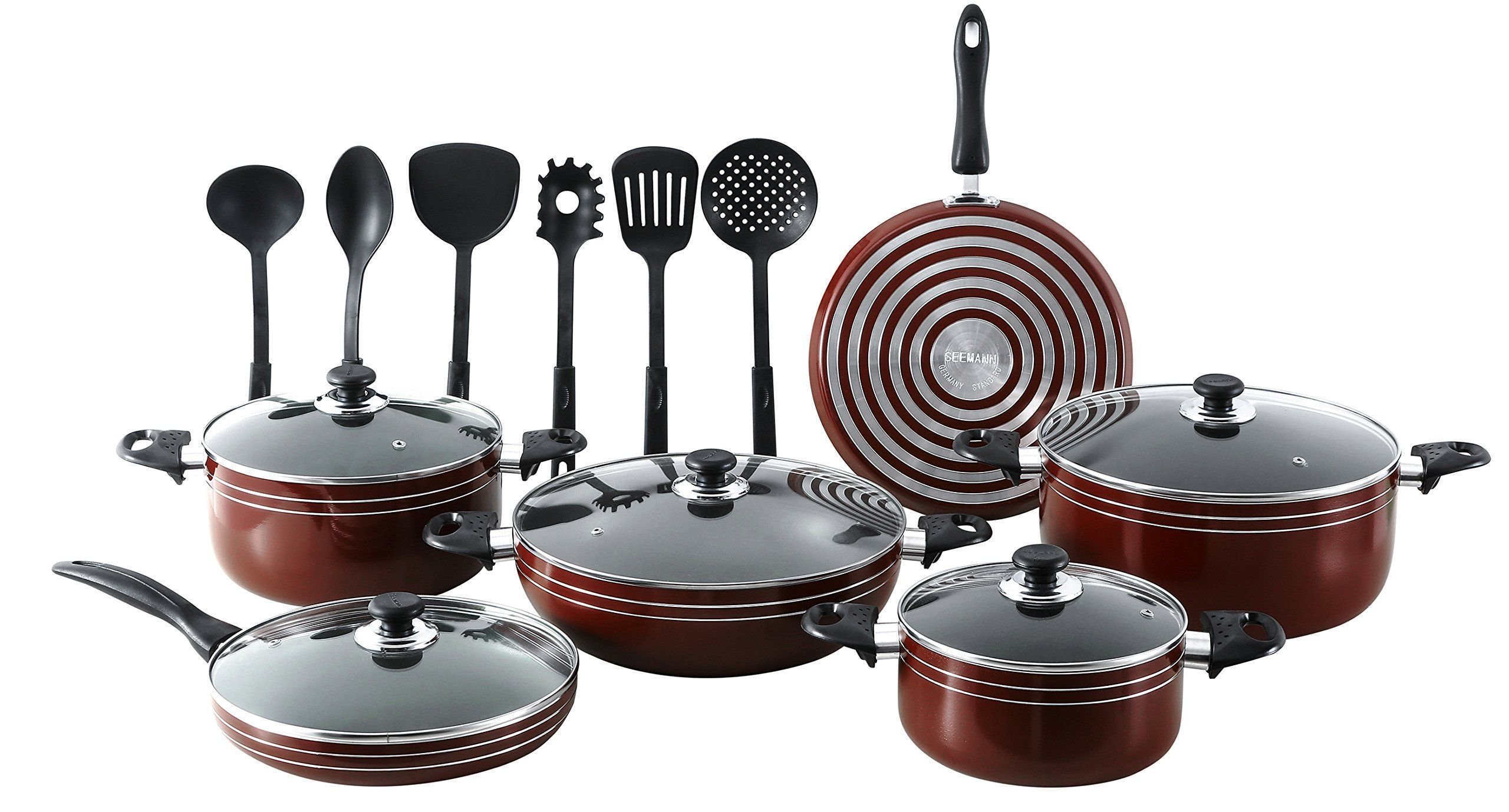 "Major-Q/SEEMANN 17 Piece ""X-Large"" Nonstick Pots and Pans Kitchen Cookware Gift Set with Cooking Utensils, Dark RED"