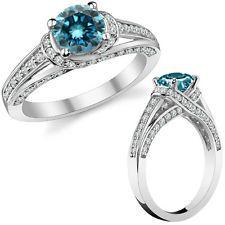 2 Carat Blue Diamond Wedding Engagement Halo Solitaire Ring 14K White Gold