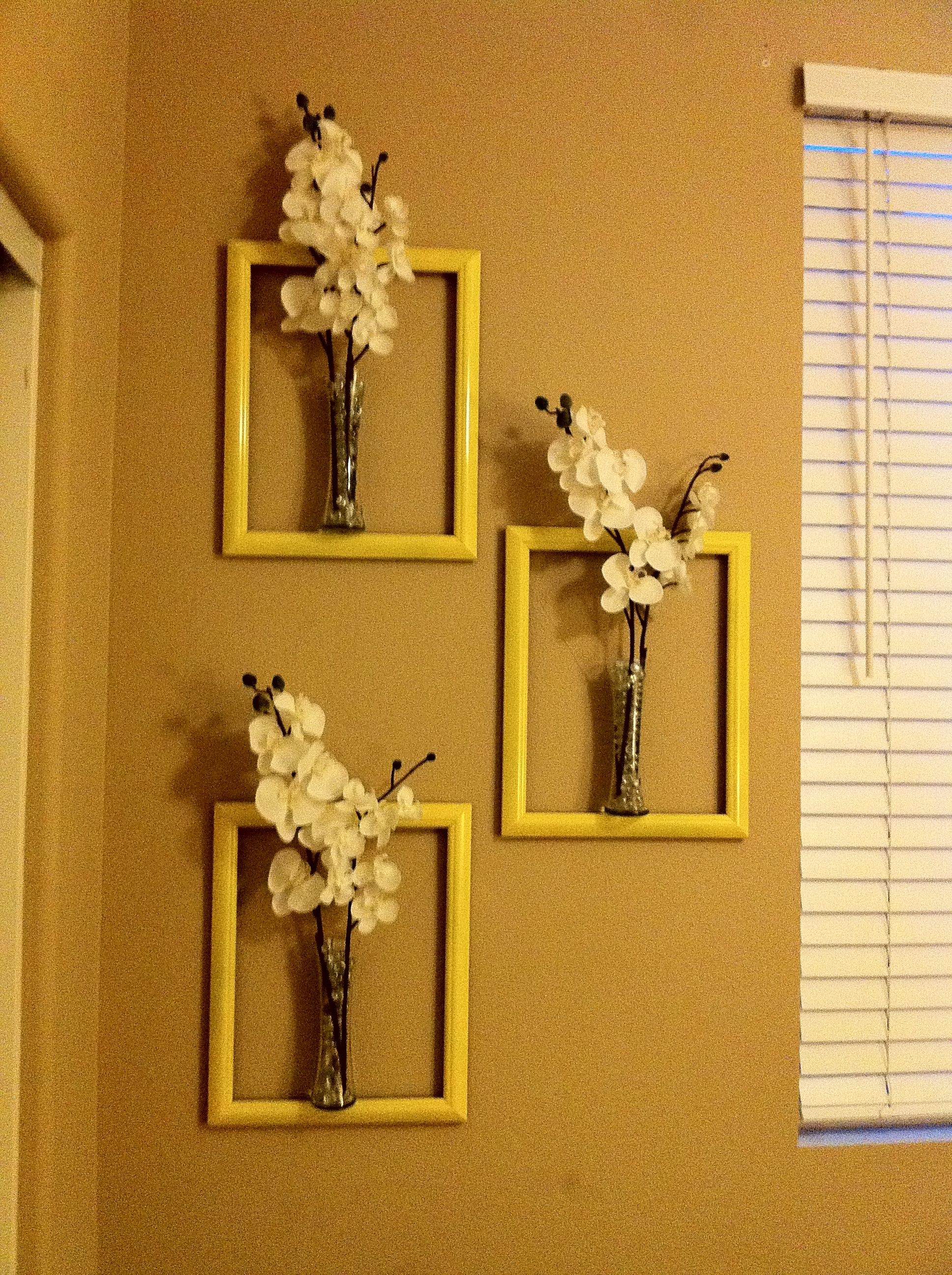 $3 Picture frames with glass taken out and spray painted yellow. $2 ...