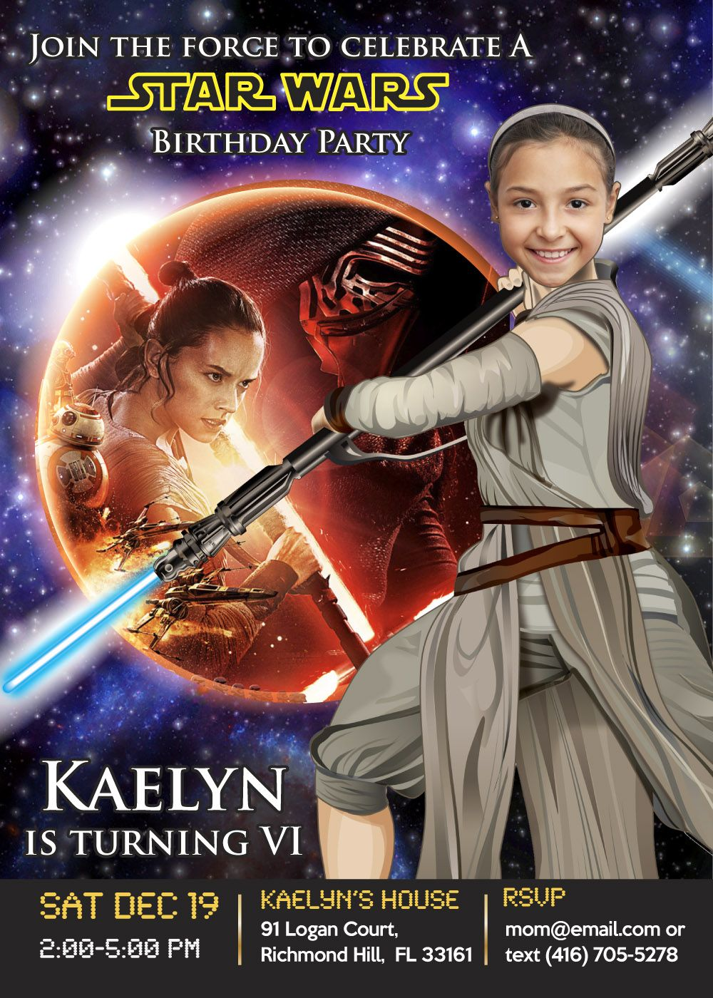 Turn Your Girl Into A Jedi And Be The Heroine Of Invite Star Wars Birthday Invitation Force Awakens Rey