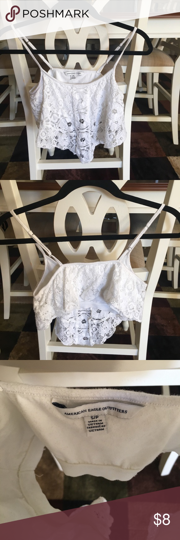 Crochet Crop top Off white crochet top with build in bra. American Eagle Outfitters Tops Crop Tops