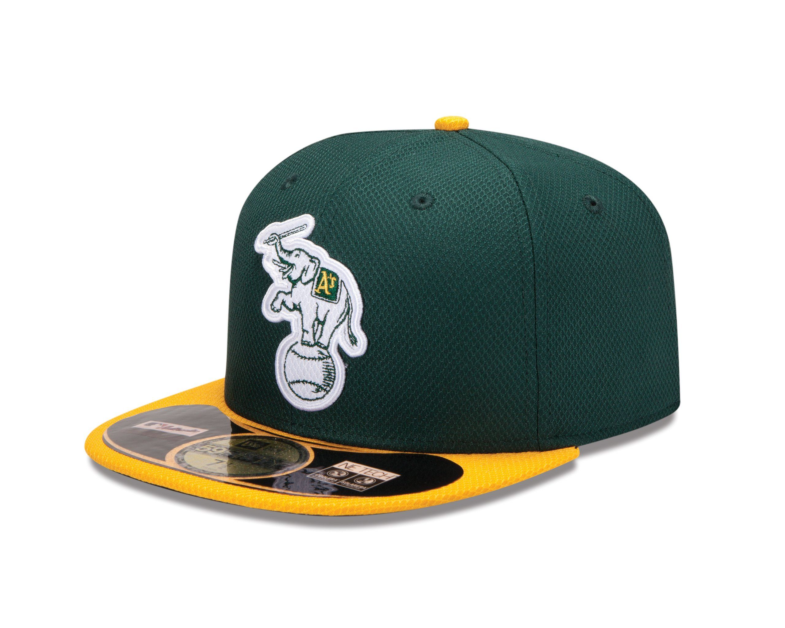 99b22d93 New Era 59Fifty Oakland A's batting practice hat, Stomper logo, diamond  print fabric