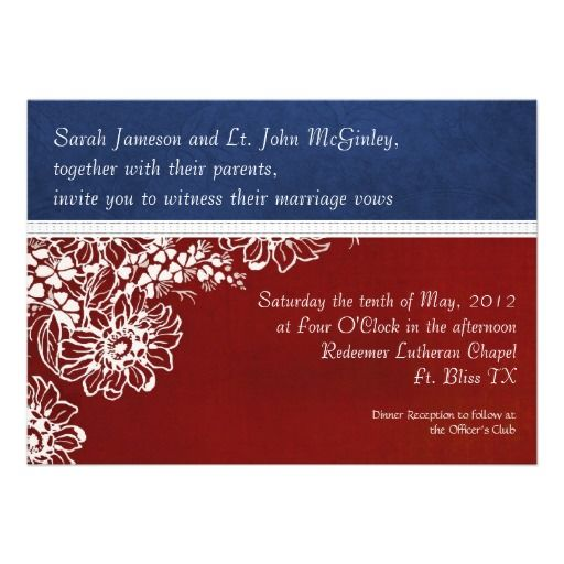 military red white and blue wedding card military wedding and us