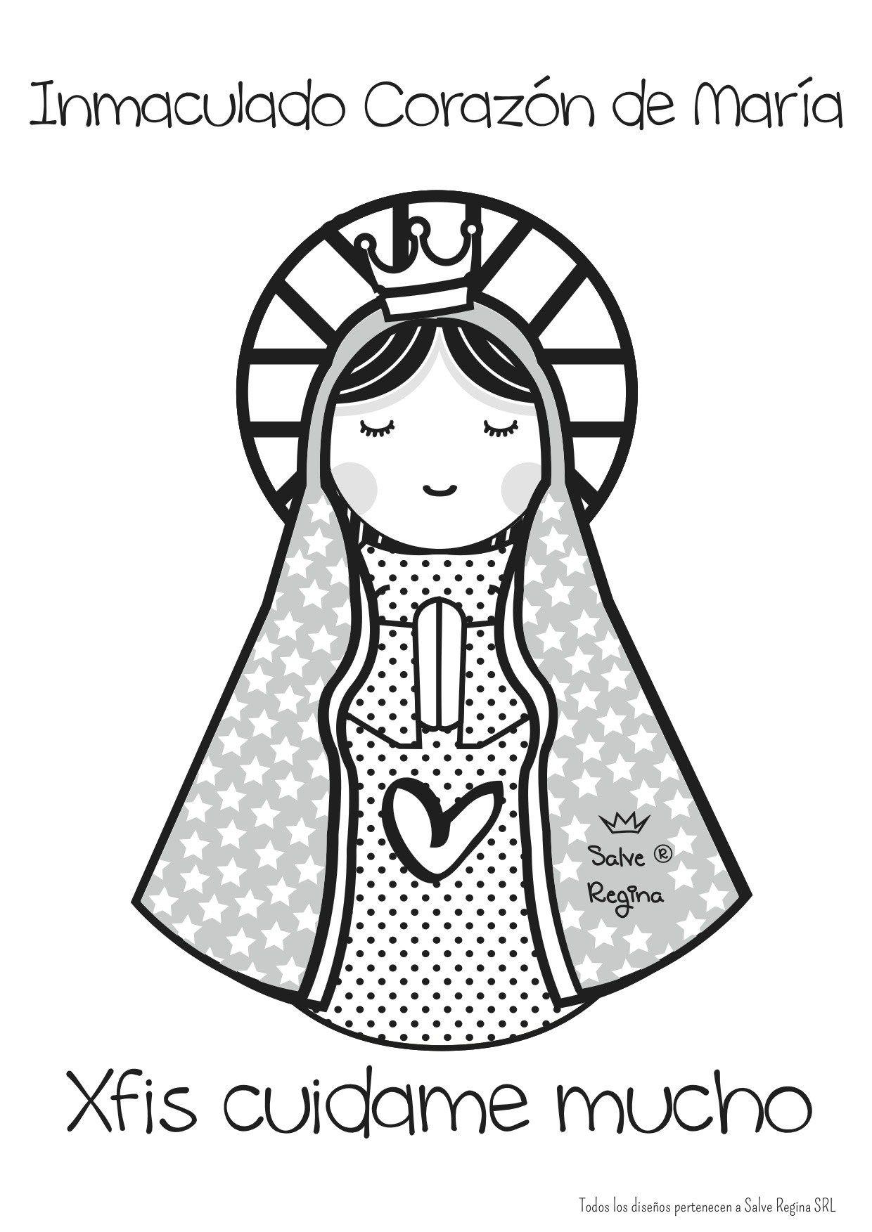 Dibujo animado de la Virgen Inmaculada   Oraciones   Pinterest ...
