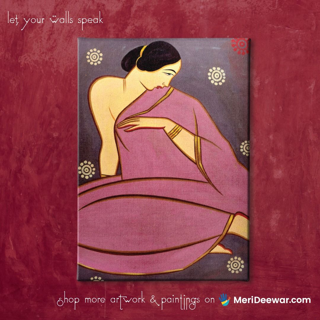 Lady In A Pink Sari Jamini Roy Painting In 2020 Jamini Roy Painting Artwork Painting