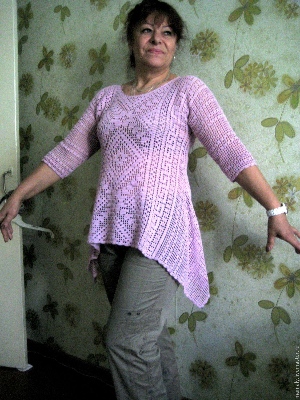cb3b3fa85c94 Купить Туника в стиле бохо - розовый, орнамент, туника, туника вязаная,  туника крючком
