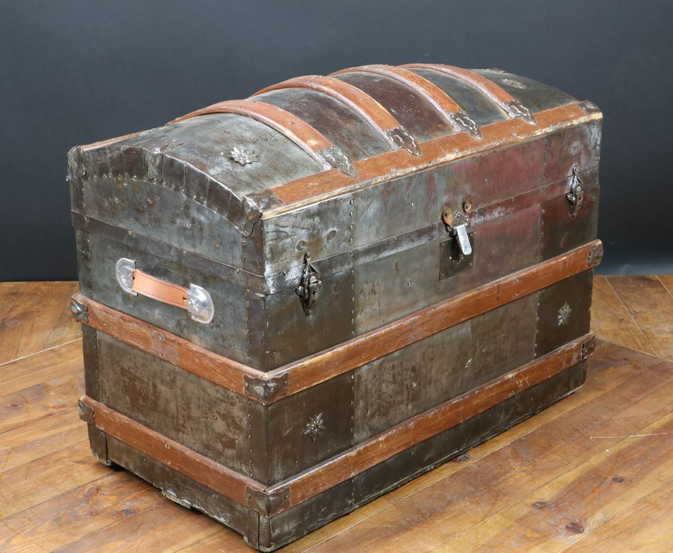 Antique American Curved Trunk 1870 Antique Steamer Trunk Antique Trunk Restoration Antique Trunk