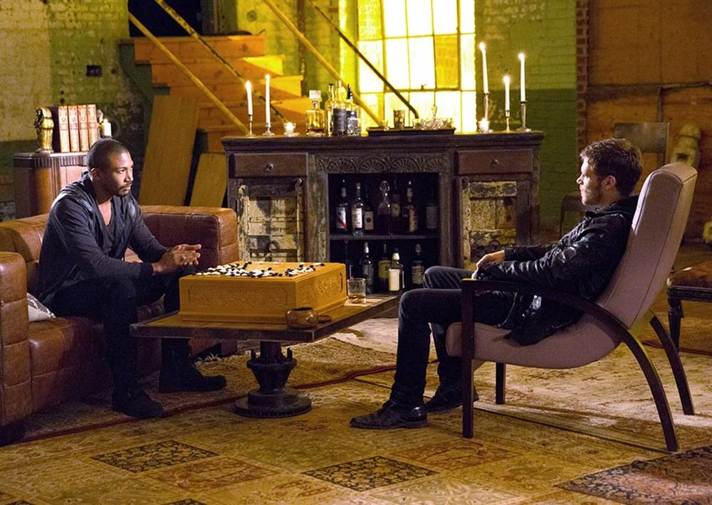 """Fifth Still of The Originals Season Two Premiere Episode """"Rebirth"""" with Marcel and Klaus."""