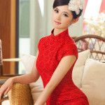 Red Lace Beading Modern Mini Qipao Short Cheongsam Dress-www.ModernQipao.com