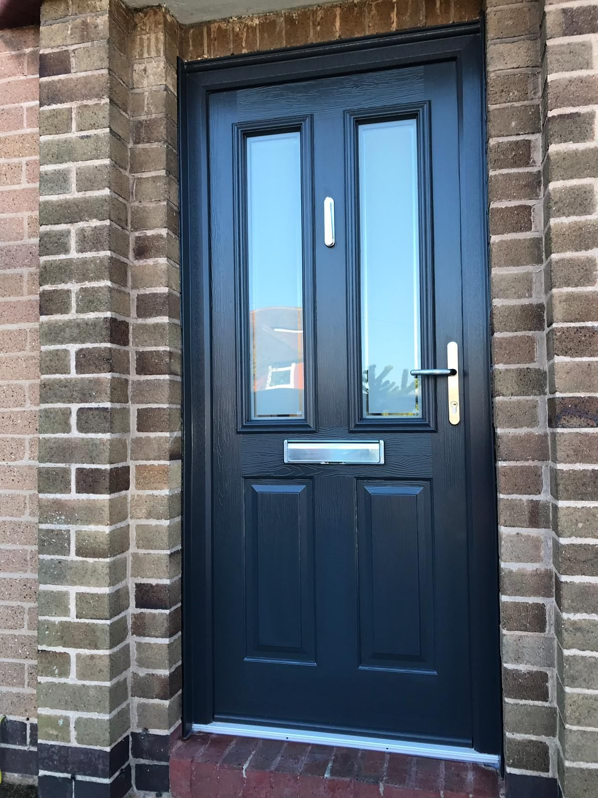 Anthracite Grey Ludlow 2 Solidor Composite Door with Victorian glass and brushed aluminium ...