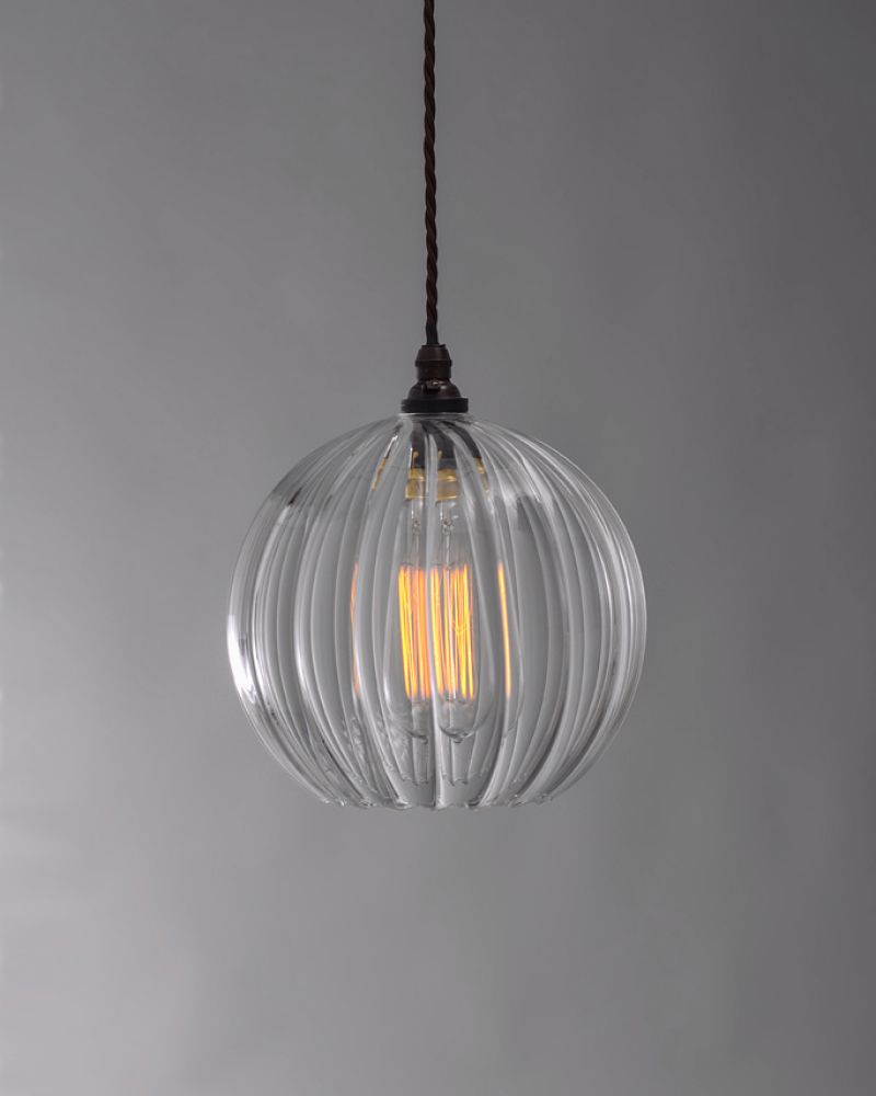 Hereford ribbed glass globe pendant light  For the Home