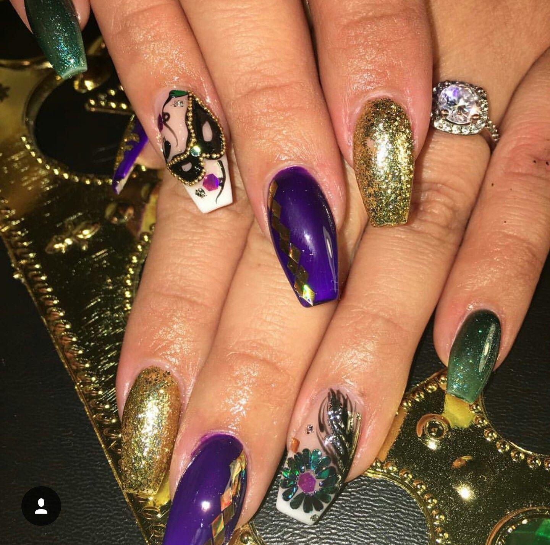 Mardi Gras nail art | My nail art | Pinterest