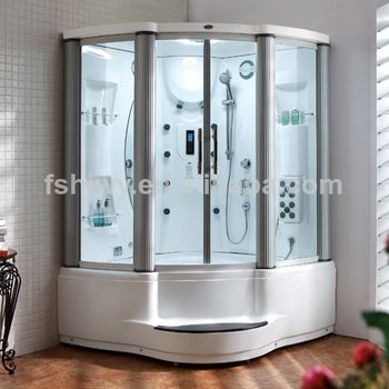 2 Person Curved Glass Jetted Whirlpool Tub Shower Combo Dq F8021