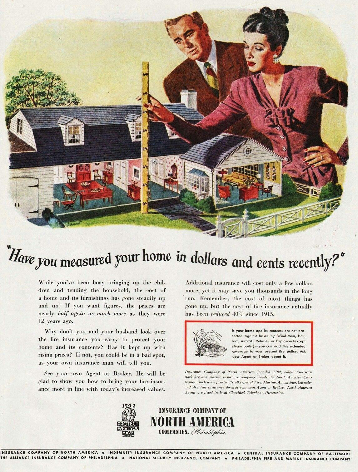 Insurance Company Of North America 1945 Insurance Ads Insurance