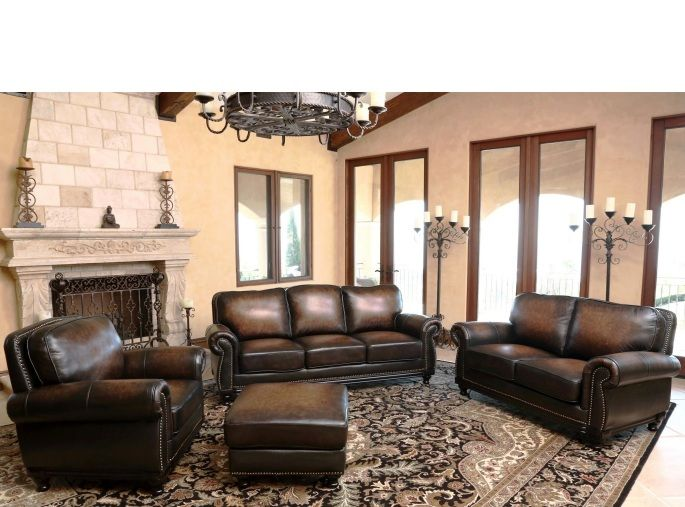 Venezia Top Grain Leather Living Room Set Multi Toned BrownSofa, Loveseat,  Chair And OttomanAntique Brass Nailhead TrimWood Trim On Front And Sides Of  Sofa, ...