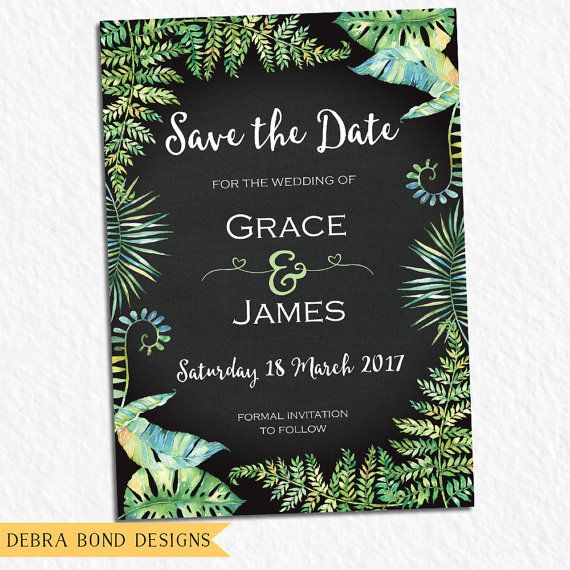 Save the date wedding announcement card, chalkboard, tropical leaves - formal handmade invitation cards