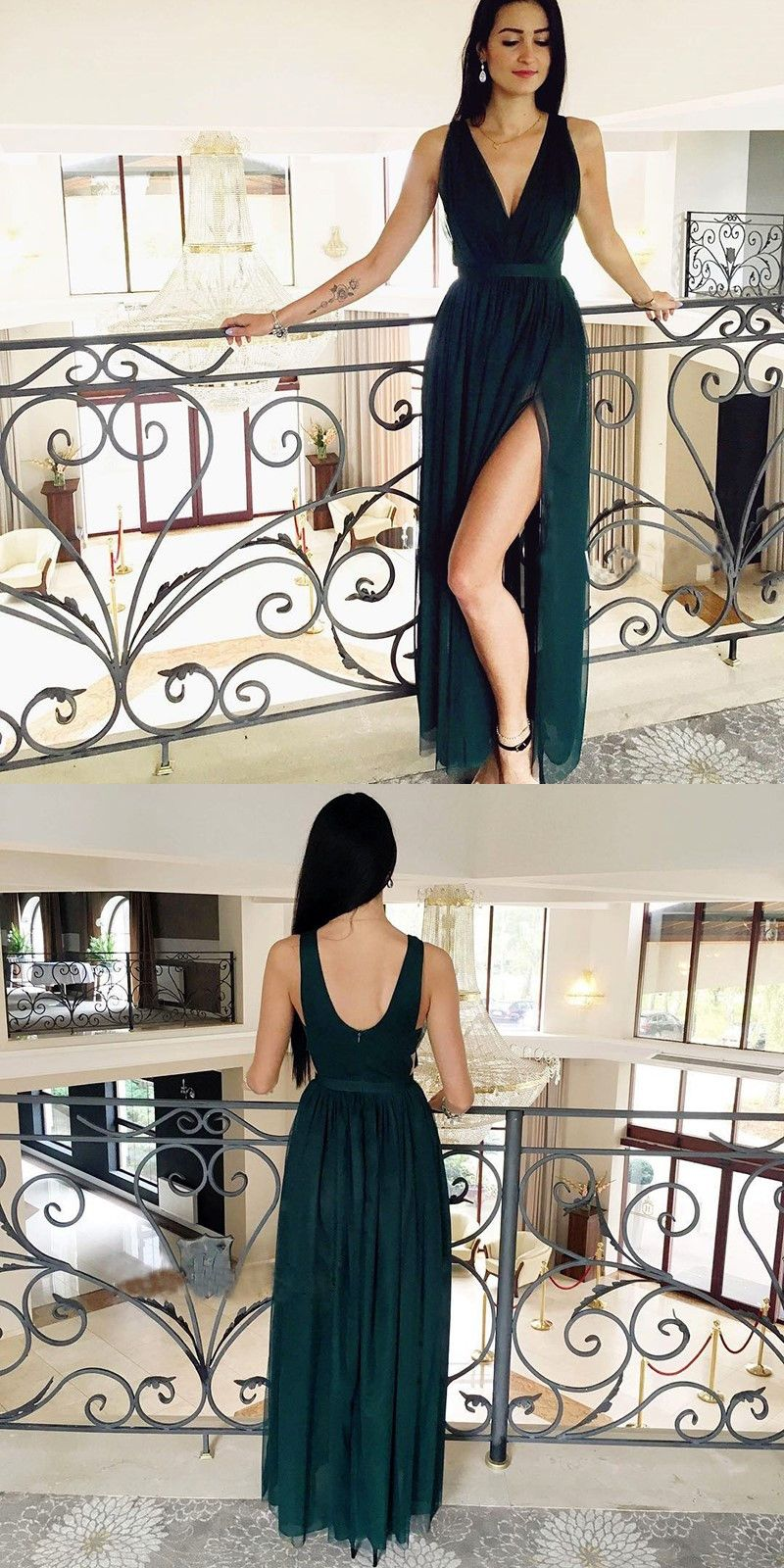 4b10ad90eb Deep-Neck Sleeveless Backless Dark Green Prom Dress with Front Split   PromDress