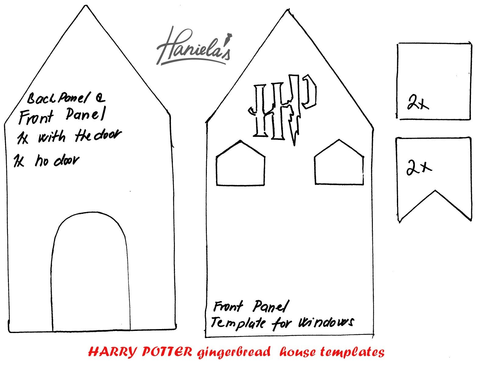 image relating to Printable Gingerbread House titled Hogwarts gingerbread home template 1 of 2 The Wizarding