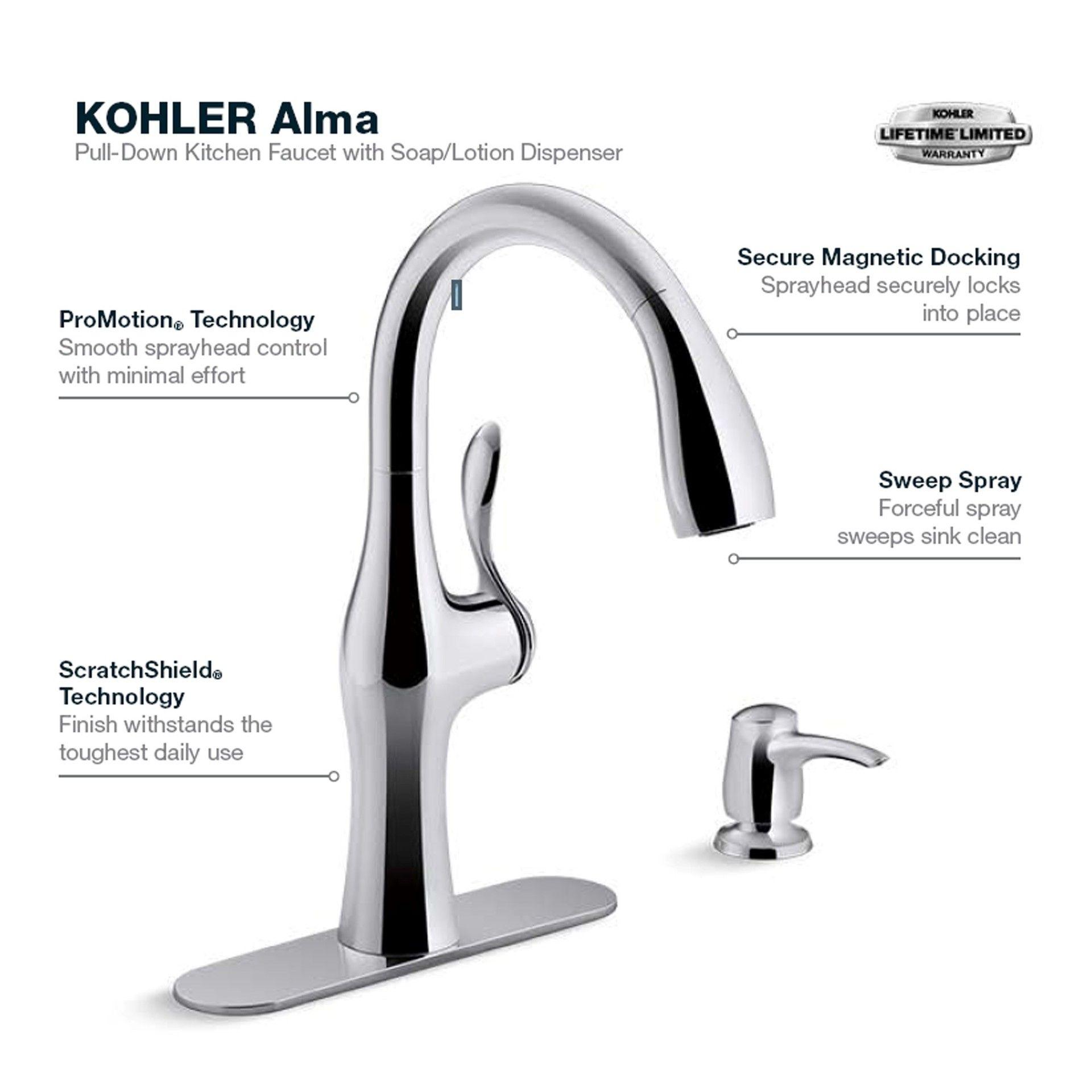 kohler alma polished chrome 1 handle