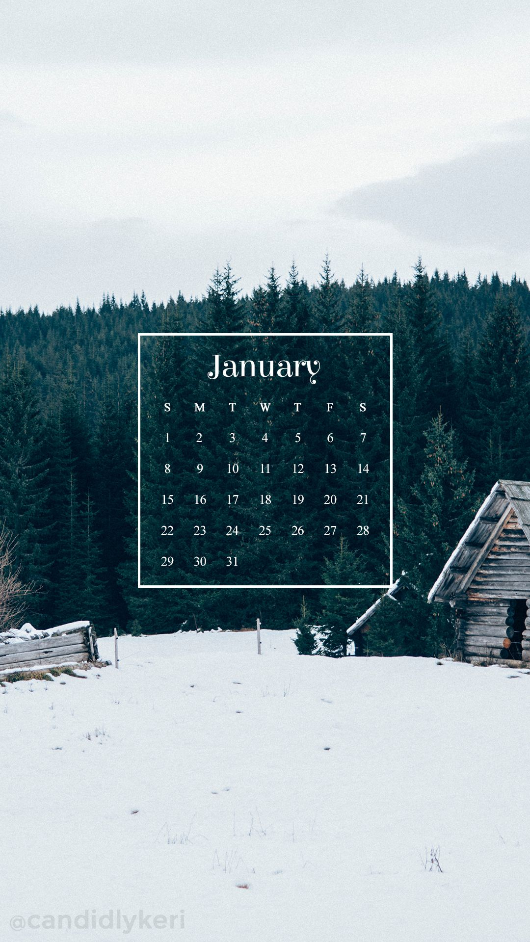 Winter cabin snow forest background January calendar 2017