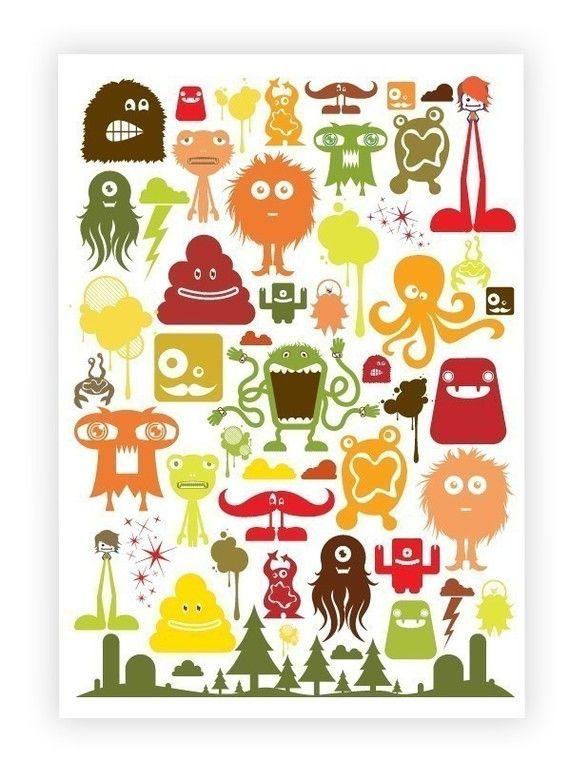Monstropolis A3 Poster- Warm