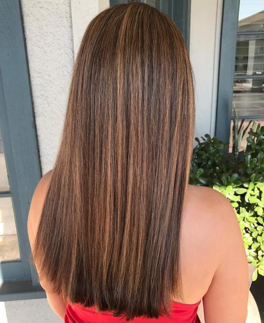 Straight Brown Hair And Caramel Highlights Straight Hair Highlights Brown Straight Hair Balayage Straight Hair