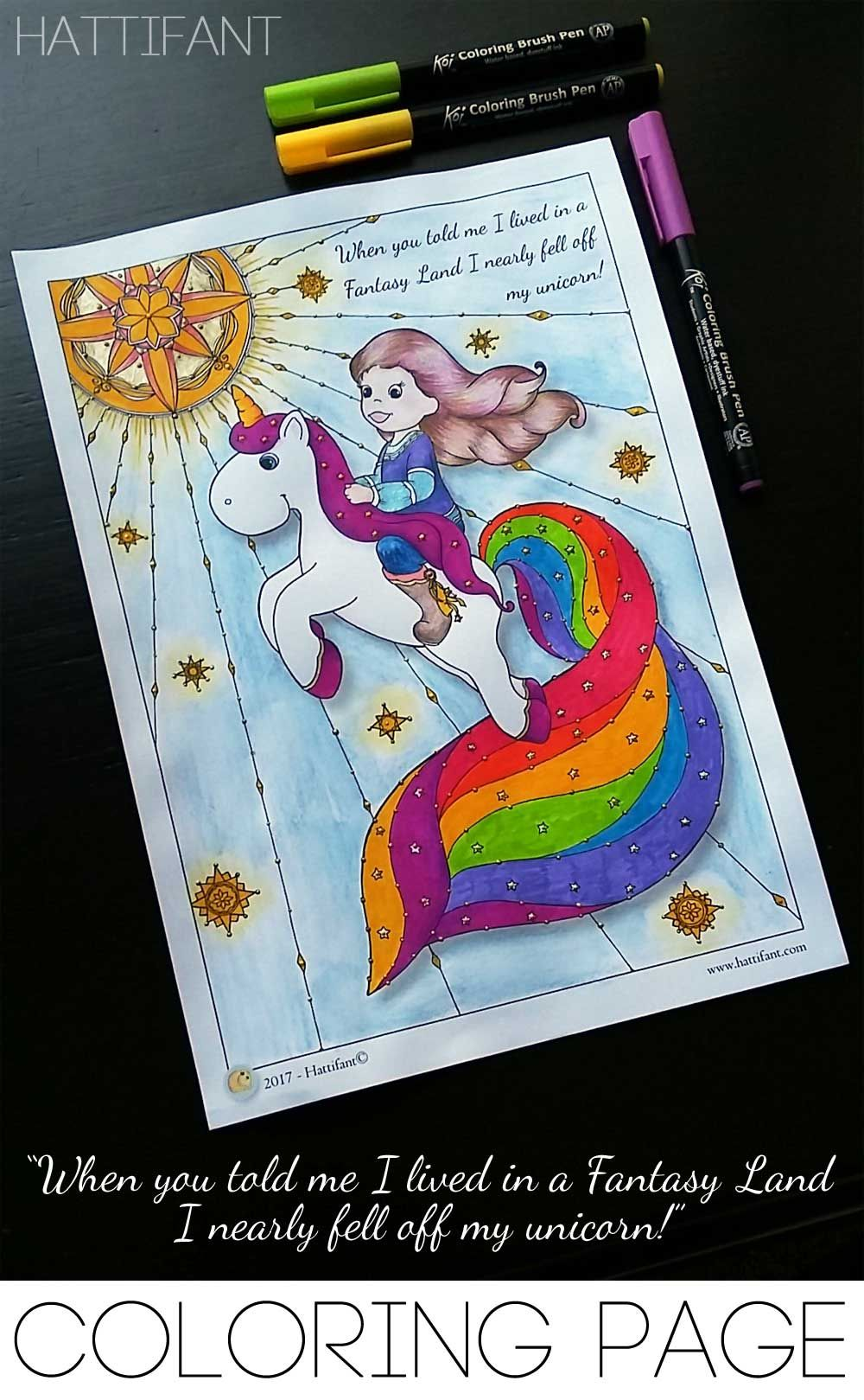 Hattifant\'s Quote Coloring Page I almost fell off my unicorn free ...