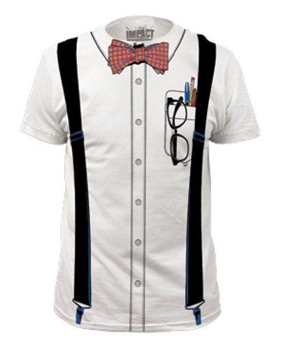 Nerd Bow Tie Suspenders Glasses Cool Costume T Shirt