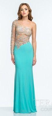 Aqua Embellished One Shoulder Dress