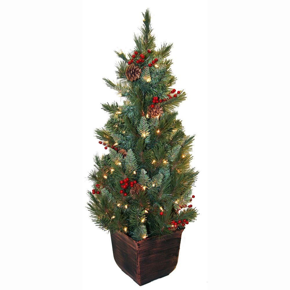 General Foam 4 Ft. Pre-Lit Pine Artificial Christmas Tree
