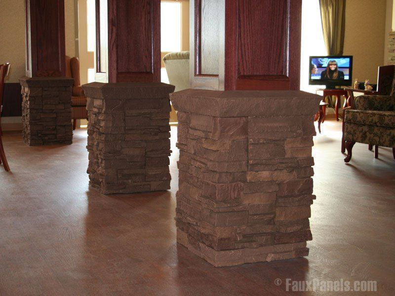 Update interior of exterior home designs with faux stone, rock or