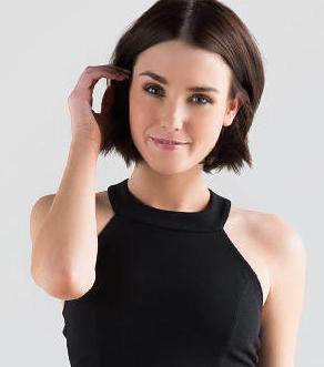 Francesca S Com Model Short Hair Textured Ends Middle Part Dark Warm Brown Color I Like Textured Hair Short Hair Styles Short Dark Brown Hair