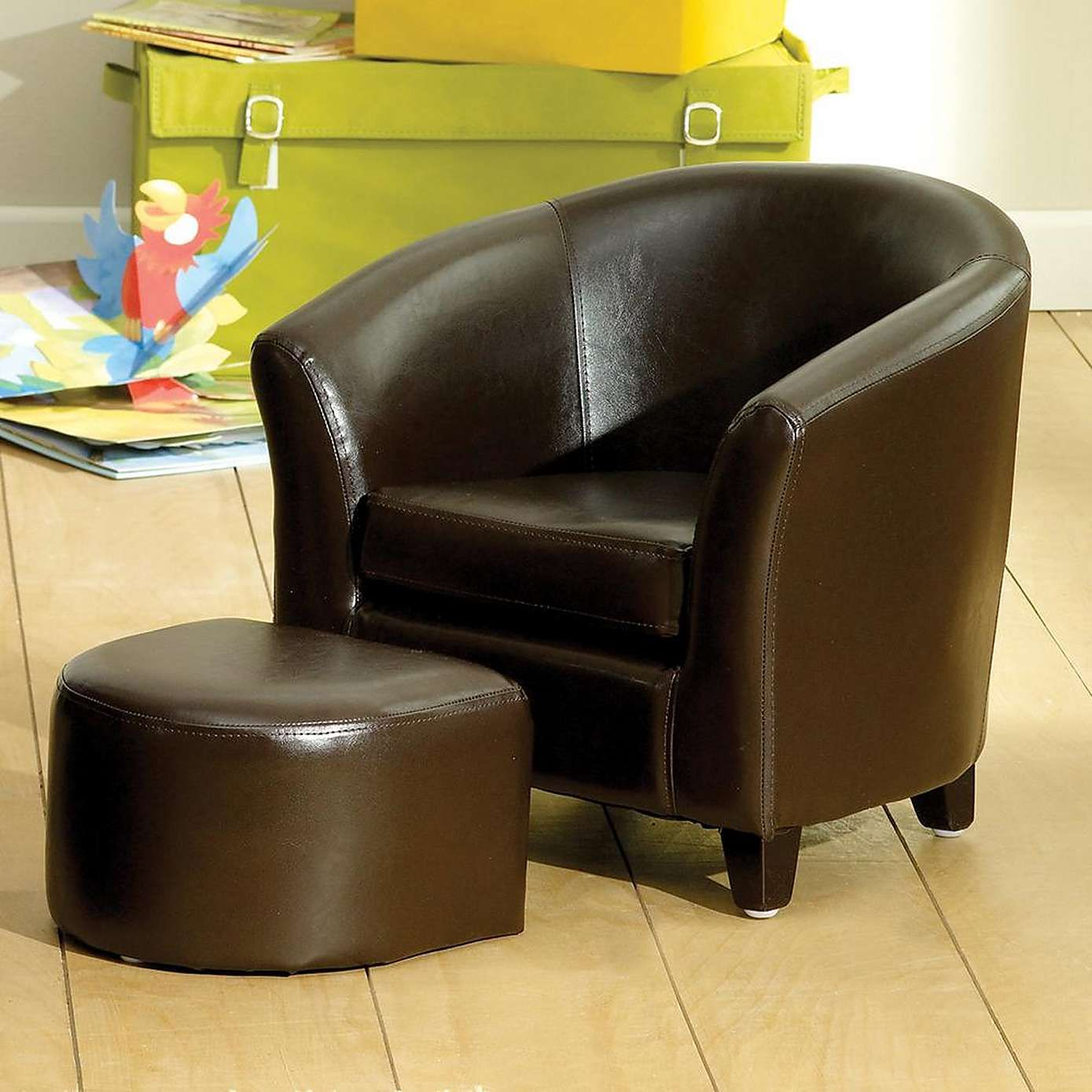 brown leather tub chair with footstool lifetime stacking chairs 2830 kids faux and stool house home dunelm