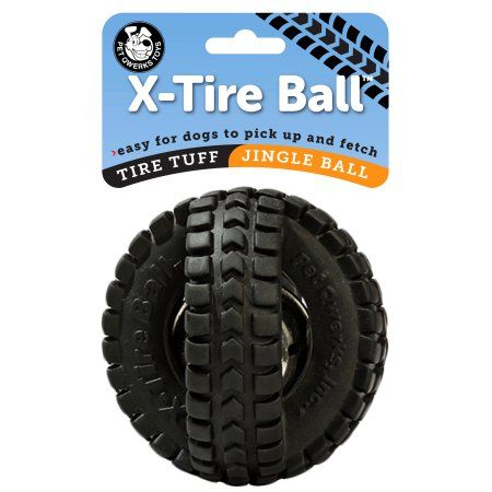 Pet Qwerks Jingle X Tire Ball Dog Toy 5 Inch Multicolor Black