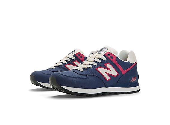 Rugby 574, Navy with Diva Pink & Ivory