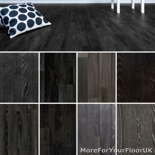 Details About Black Wood Plank Vinyl Flooring Realistic Style
