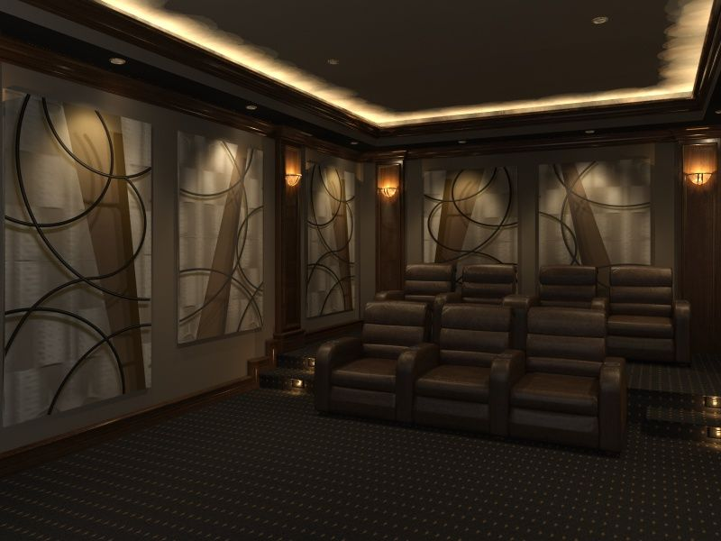home theater acoustic design. Home Theater Design featuring  Angled Curves decorative acoustic panels by 3 D Squared